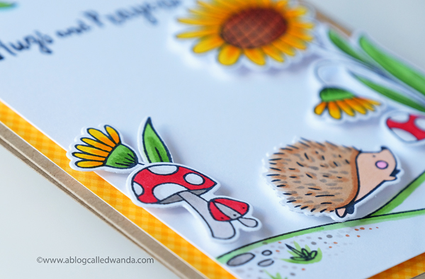 Hedgehog and flower stamps. Copic coloring. Waffle Flower
