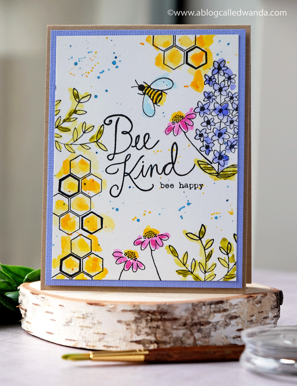 Flora and Fauna clear stamps. Bee Kind. Mijello watercolors