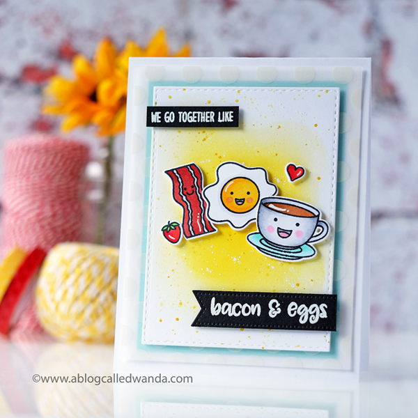 Sunny Studio Stamps Breakfast Puns. Copic coloring, distress ink background