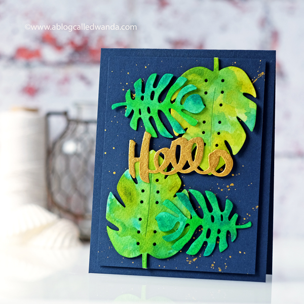 Tropical Leaves watercolor card. Finetec Gold paints. Savvy Stamps Palm Die. Wanda Guess