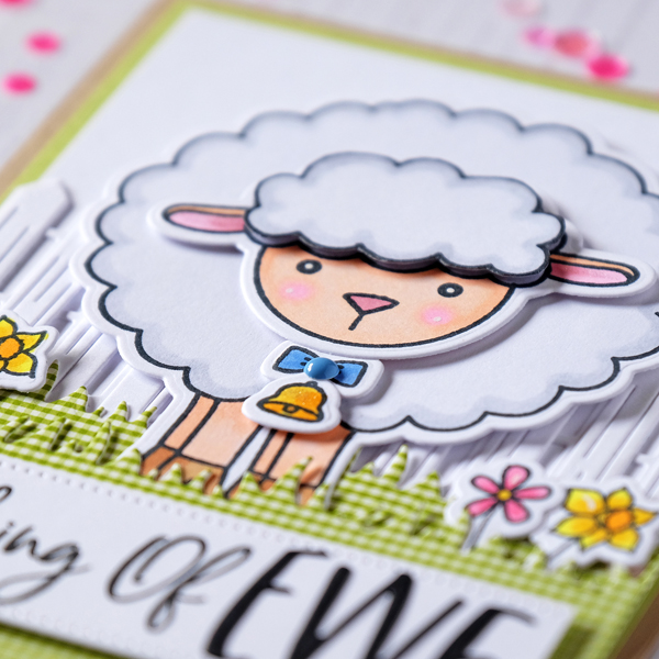 Honey Bee Stamps Lily the Lamb and fence and grass dies