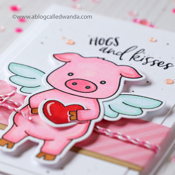 Honey Bee Stamps Pinky the Pig stamp set. Colored with Copics