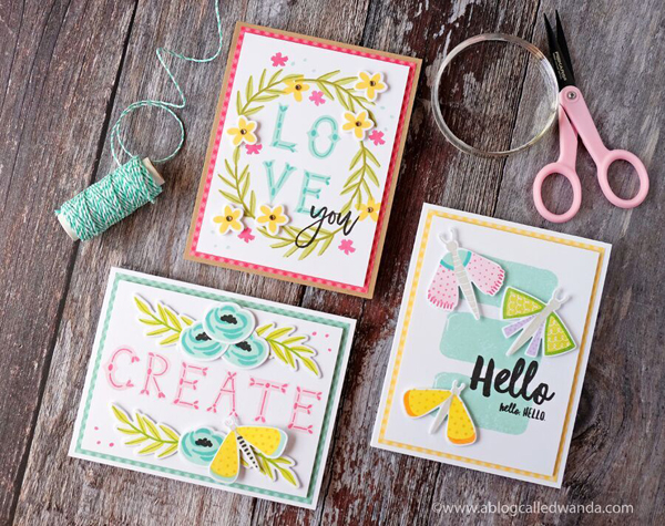 Right At Home Stamps and Dies. Fluttering By, Folk Alphabet, Freshly Picked. Cards by Wanda Guess