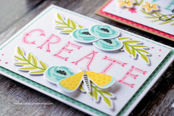 Create card - Right At Home stamps and dies florals and butterflies