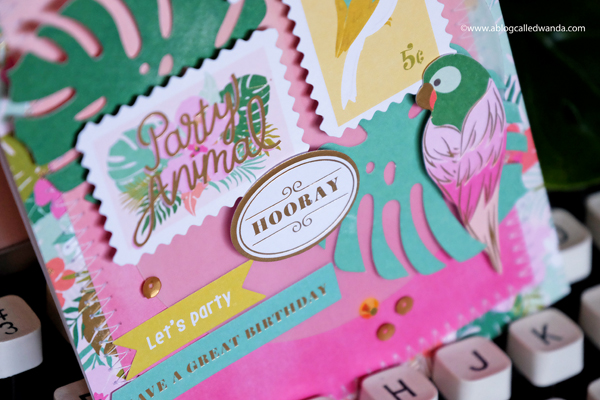 Pink Paislee Confetti Wishes card. Tropical birds and flowers and leaves. DIY Card by Wanda Guess