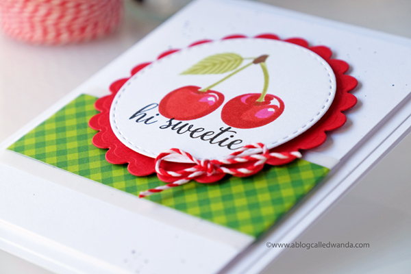 Cherry gingham card. Sunny Studio Stamps Berry Bliss