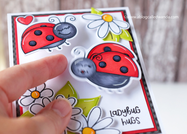 Action wobbles. Ladybug Card. Copic Markers and Honey Bee stamps