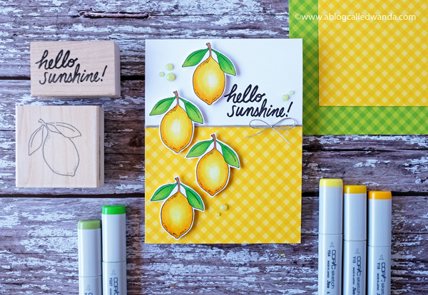 Lemon Card using stamps and copic markers. Sunny Studio Gingham. Impress Rubber stamps