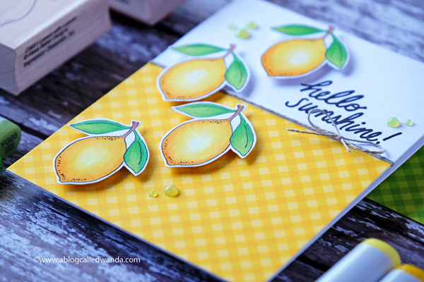 Handmade card with lemon stamps and copic markers. Clean and Simple card layout. Wanda Guess
