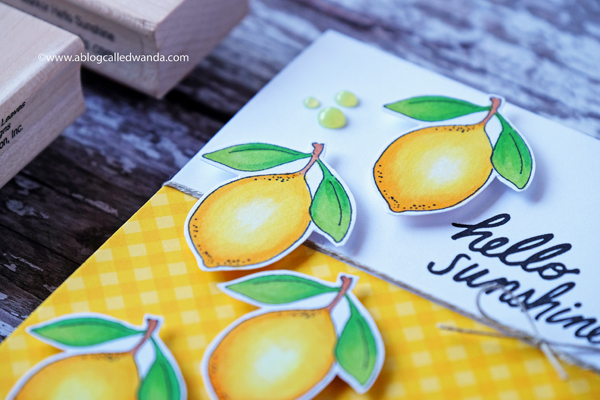 Copic coloring. Impression Obsession lemon stamp. Gingham paper