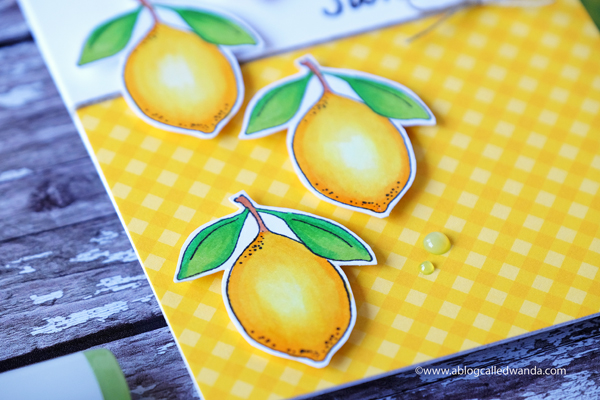 Lemon Rubber Stamp. Handmade card. Copics