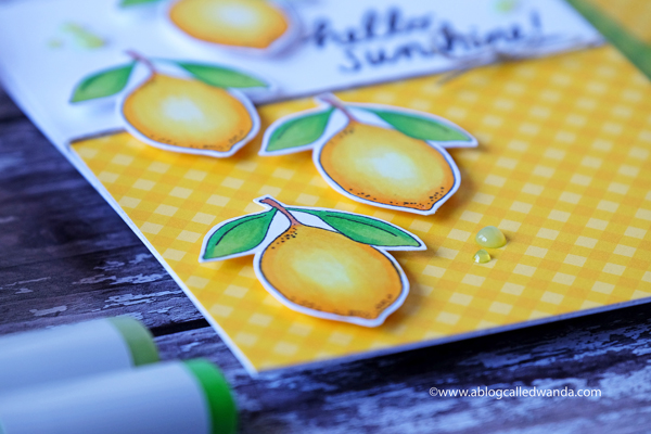 Nuvo Crystal Drops - Key Lime. Yellow gingham paper from Sunny Studio