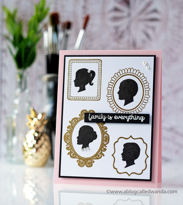 Hero Arts My Monthly Hero May 2018. Family silhouettes in frames card. By Wanda Guess. Gold embossing.