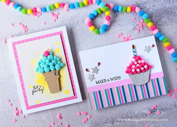 Queen and Company Birthday Bash Kit. Birthday cards with Pom Poms!