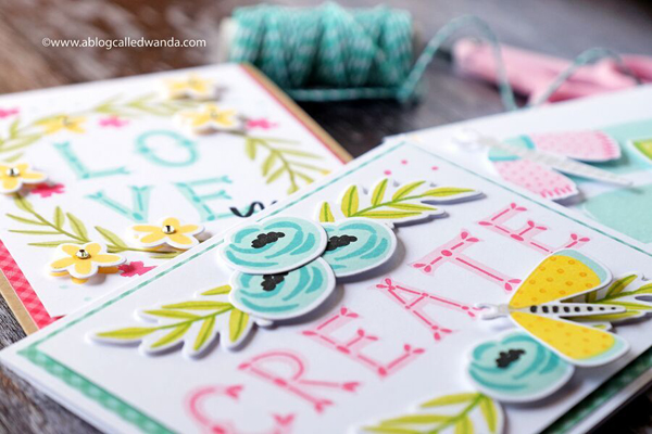 Handmade cards florals and butterflies. Alphabet stamps. PIgment ink cards by Wanda GUess