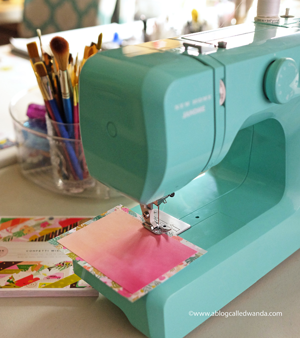 Janome New Home sewing machine. Arctic Crystal. Sewing on paper and cards