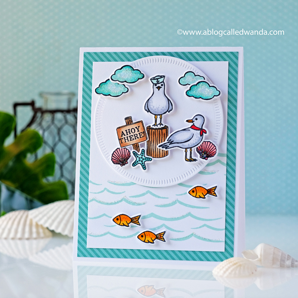 Hero Arts Seas The Day Seagulls stamps and dies. Beach theme card. Copic Coloring. Wanda Guess