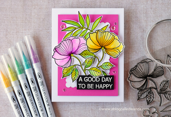 Waffle Flower Bouquet Builder 1 stamp set. Zig Clean color markers. Handmade card by Wanda Guess