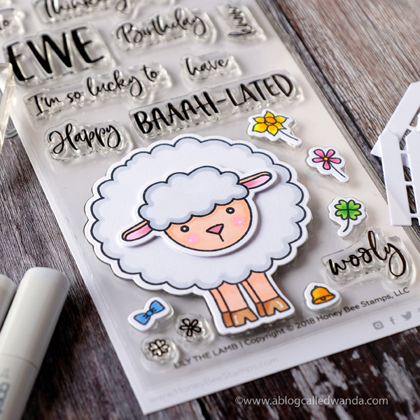Lily the Lamb stamp set. Honey Bee Stamps and Copic Markers