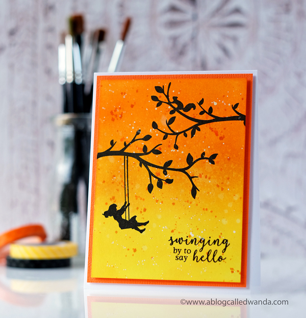 Hero Arts My Monthly Hero May 2018 main kit. Silhouettes of trees with Distress Ink blending background