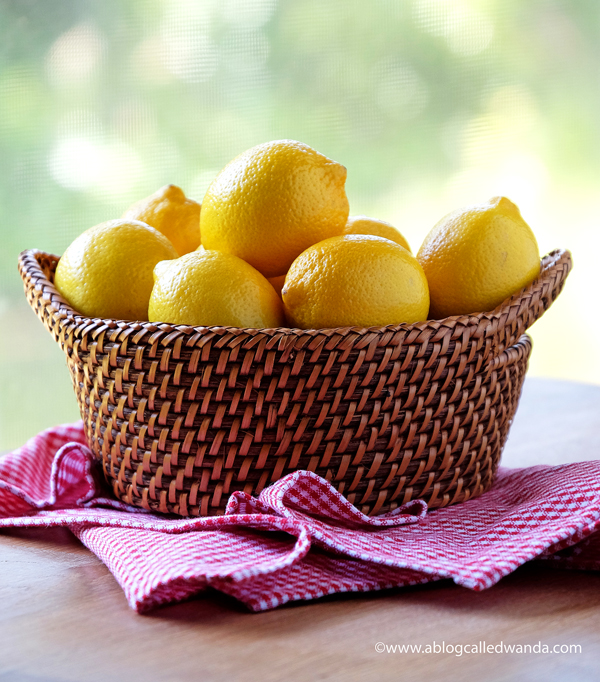 Lemons in basket photo
