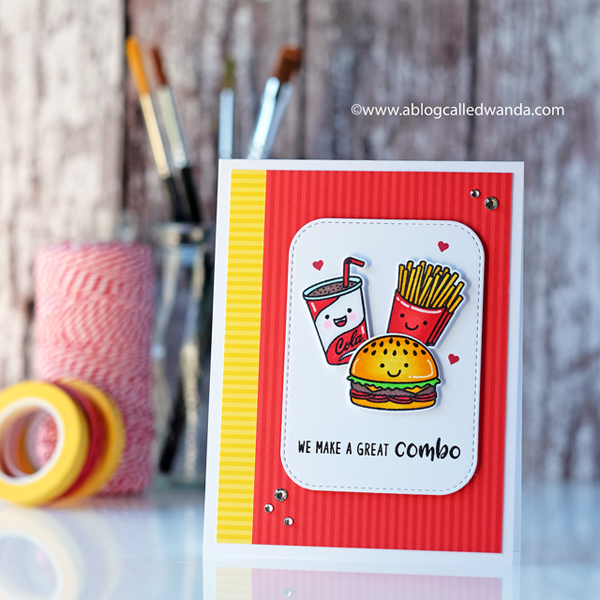 Sunny Studio Stamps Fast Food Fun! Burgers and fries with Copic Markers. A Blog Called Wanda