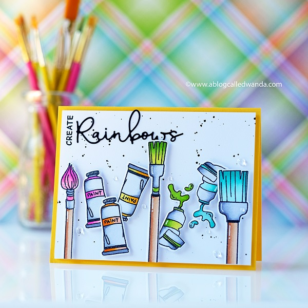Waffle Flower Little Painters stamps and dies. Rainbow word die. Card with Copic Markers by Wanda Guess