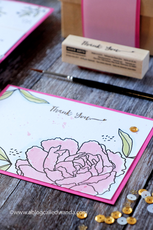 Hero Arts stamps and dies. Peony watercolor
