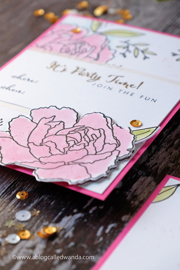 peonies rubber stamps. invitation and gold embossing