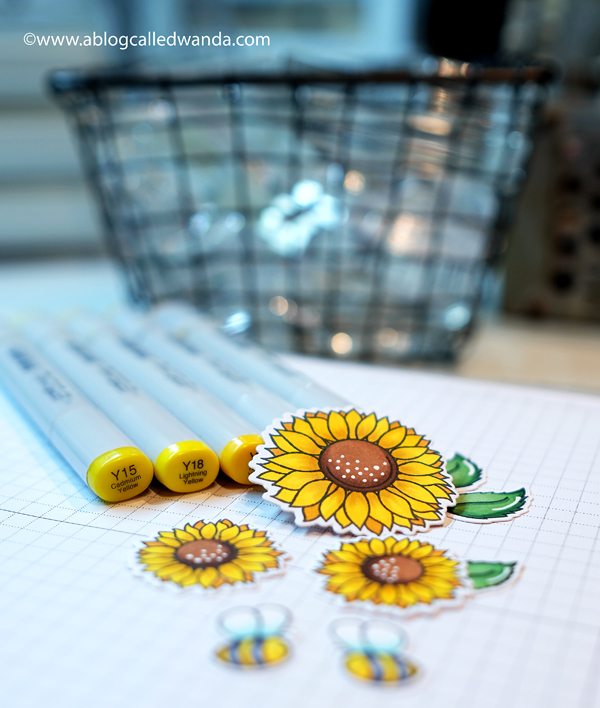 Copic Coloring sunflowers. Honey Bee Stamps and dies