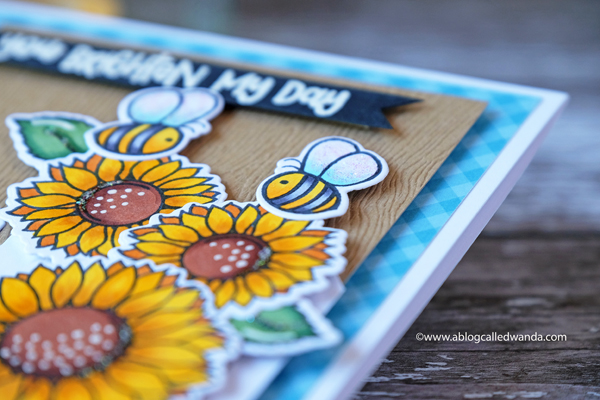 Honey Bee stamps and dies. Sunflowers and fence. Busy Bees. Copic Coloring. Wanda Guess