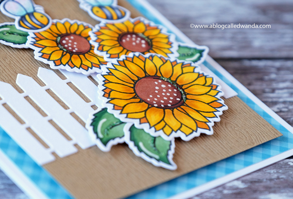 Copic Coloring sunflowers. Honey Bee stamps