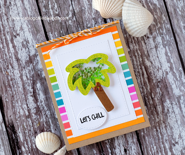 Queen & Company shaker card Palm Tree. Let's Chill - Summer card