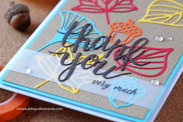 Hero Arts Thank You Die. Fall card with leaves and vellum