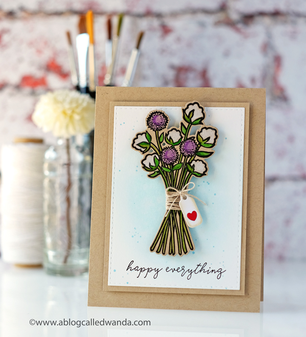 Reverse Confetti Cotton and Thistle stamp set. Colored pencils on kraft. Cheerful handmade card. CAS design