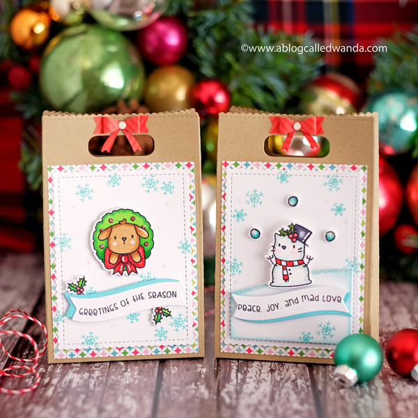 Mama Elephant Favor Bags for Christmas and Winter. Yappy Woofmas stamp set