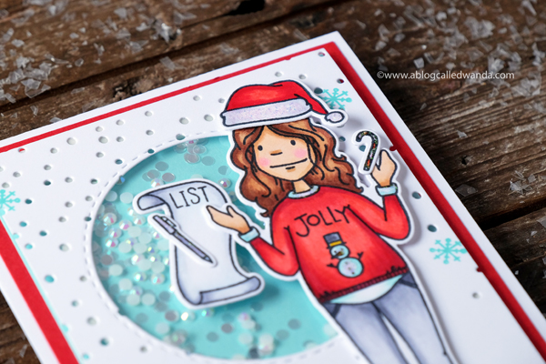 Ellen Hutson Holiday Shopper Lady. Shaker card
