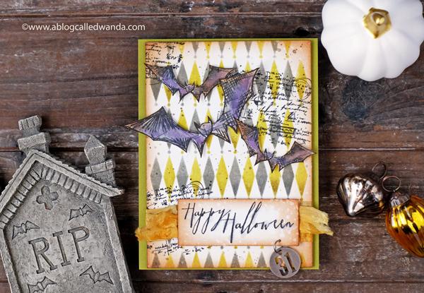 Tim Holtz Halloween Card. Distress Inks. Diamond Shifter Stencil. Blueprints stamps.