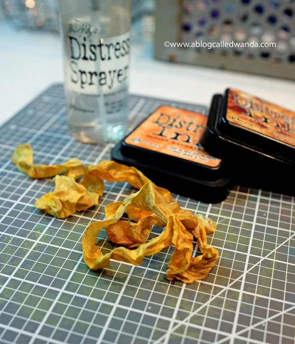 Tim Holtz crinkle ribbon and distress inks