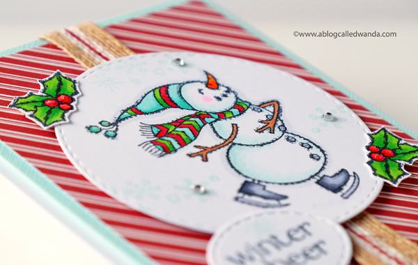 Winter cheer card with Stampin Up Spirited Snowmen stamp set