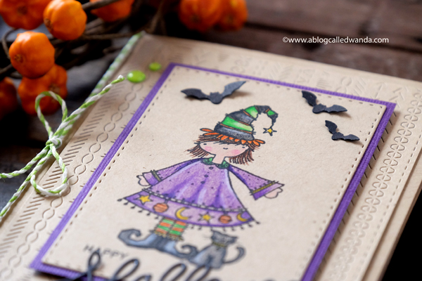 Polychromos pencils on kraft. Halloween card
