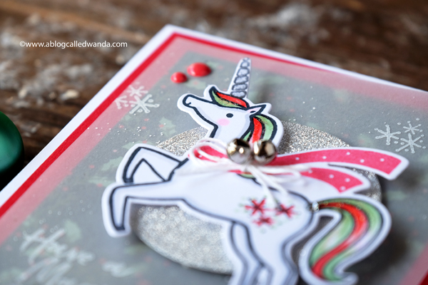 Christmas unicorn card. Pinkfresh Studio Unicorn