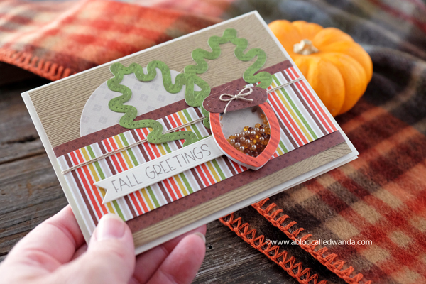 Queen and Company Happy Harvest Card Kit. Shaker Card. Autumn and Fall