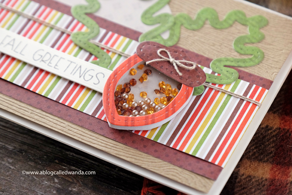 Handmade card Fall Autumn leaves acorn shaker card
