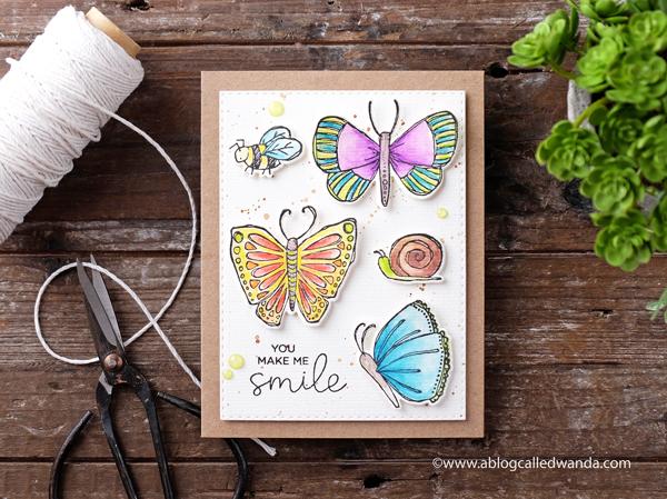 Elizabeth Crafts stamps. Watercolor pencils. Garden card. Handmade cards