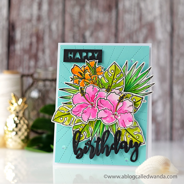 Tropical birthday card with watercolors. WPlus9 stamps and dies. Hibiscus and leaves