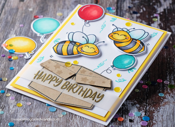 Honey Bee Stamps Build A Bee birthday card, Balloons and confetti. Embossing. Copic Markers