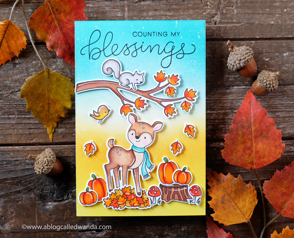 Hello Bluebird stamps and copic markers. Fall Card. Distress Ink Background