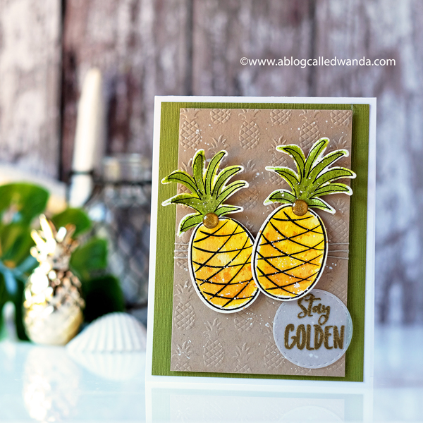 Ellen Hutson Stay Golden Pineapples stamp set. Card with Distress Ink water colors. Wanda Guess