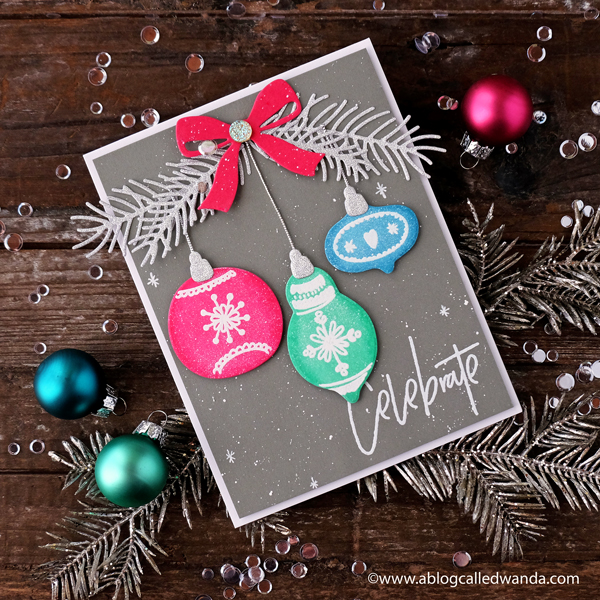 1 Right At Home Stamps. Bells and Baubles. Distress Ink Chrismtas card